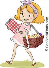 kosz, dziewczyna, koźlę, piknik, chód