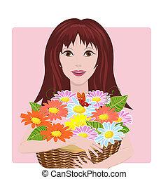 kosz, dziewczyna, kwiaty