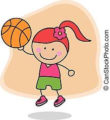 kosz, dziewczyna, piłka