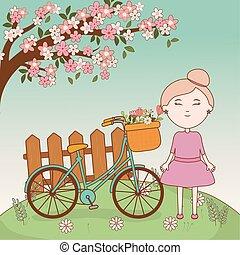 kosz, dziewczyna, rysunek, rower, gałąź, drzewo, kwiaty, płot