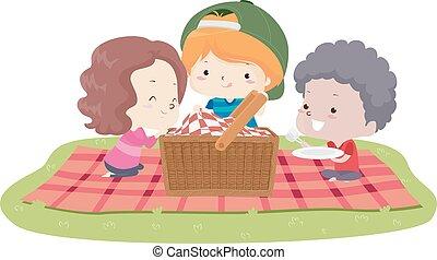 kosz, ilustracja, dzieciaki, koc, piknik