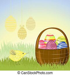 kosz, jaja, wielkanoc, łąka