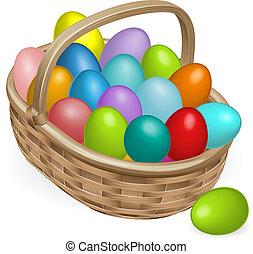 kosz, jaja, wielkanoc, ilustracja
