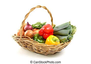 kosz, jakiś, roślina, organiczny, świeży