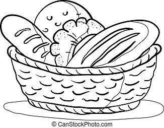 kosz, kontur, bread