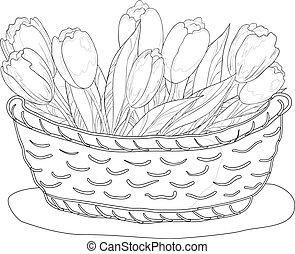 kosz, kontur, tulipany