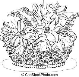 kosz, kwiaty, kontury