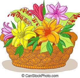 kosz, kwiaty, lilia