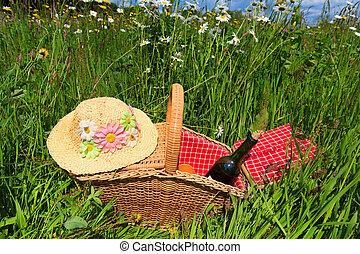 kosz, lato, kwiat, piknik, pole