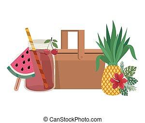 kosz, lato, napój, piknik, pokrzepiający