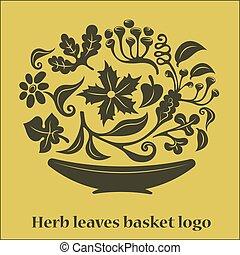 kosz, logo, liście, kwiat