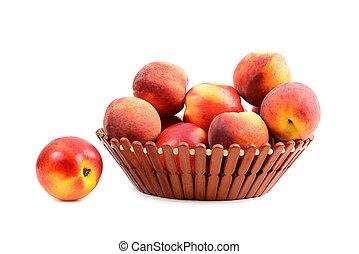 kosz, owoc, brzoskwinia