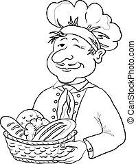 kosz, piekarz, kontur, bread