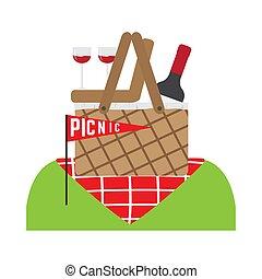kosz, piknik, butelka, wino