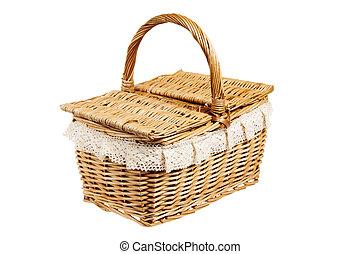 kosz, piknik, odizolowany, biały