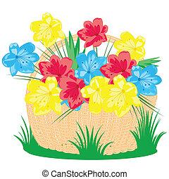 kosz, pole, kwiat