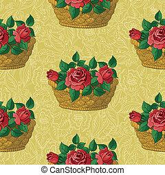 kosz, róże, kwiatowy, seamless, próbka