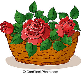 kosz, róże
