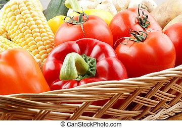 kosz, roślina, warzywa, ogród, świeży