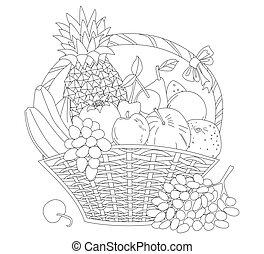 kosz, rocznik wina, bow., świeży, colo, wiklina, słodki, owoce, twój