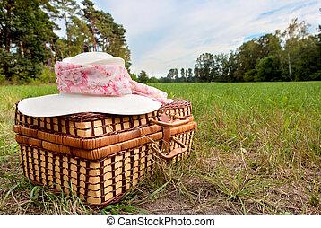 kosz, słoma, piknik, kapelusz