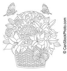 kosz, su, grono, świeży, mały, lilie, róże, wiklina, ozdobny