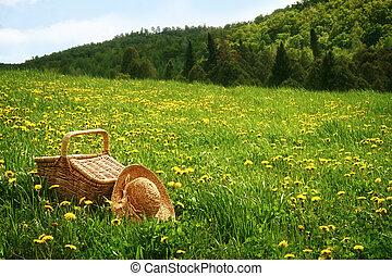 kosz, trawa, piknik