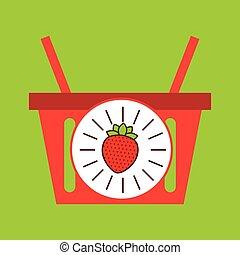 kosz, truskawka, owoc, zakupy, soczysty