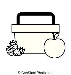 kosz, truskawka, piknik jadło, jabłko