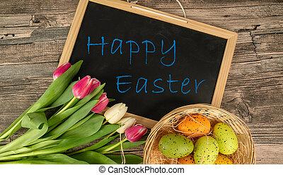 kosz, tulipany, jaja, stół, tablica, wielkanoc