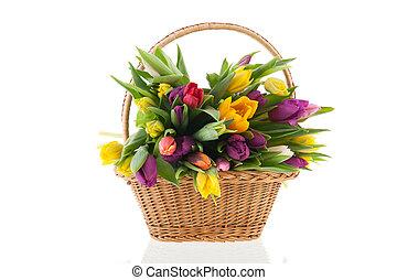 kosz, tulipany, rączka