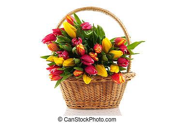 kosz, tulipany, wypełniony