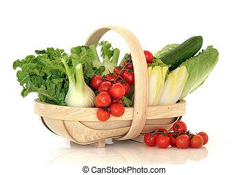 kosz, warzywa, sałata