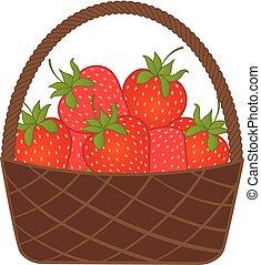 kosz, wektor, strawberry., strawberries.