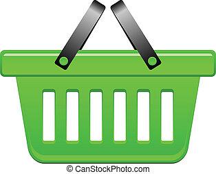 kosz, wektor, zielony, ilustracja