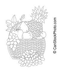 kosz, wiśnia, świeży, fruit., ananas, jabłko, po, wiklina, gruszka