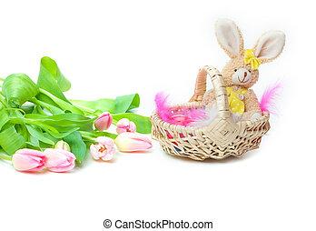 kosz, wielkanoc, tulipany