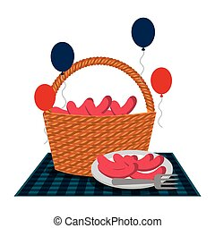 kosz, wiklina, kiełbasy, balony