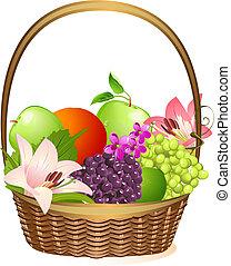 kosz, wiklina, kwiaty, owoc