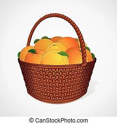kosz, wiklina, liście, pomarańcze, świeży