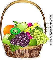 kosz, wiklina, owoc