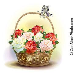kosz, wiklina, urodziny, roses., card.