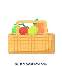 kosz, wiklina, warzywa, owoc, piknik