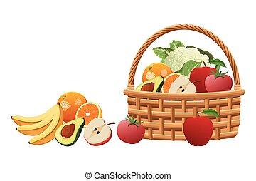 kosz, wiklina, warzywa, owoc