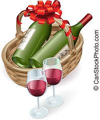 kosz, wiklina, wino