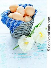 kosz, wiosna, jaja, kwiaty