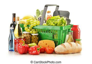 kosz, wyroby, sklep spożywczy shopping, skład