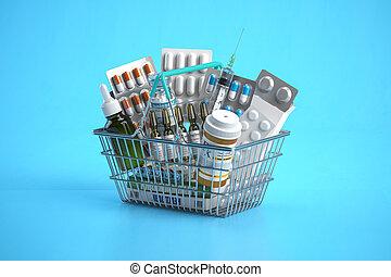 kosz, zakupy, pęcherze, tło., szczepionka, leki, błękitny, pigułki, pełny