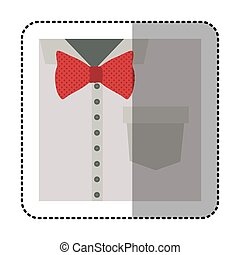 koszula, barwny, rzeźnik, do góry, łuk, zamknięcie, krawat, czerwony, formalny