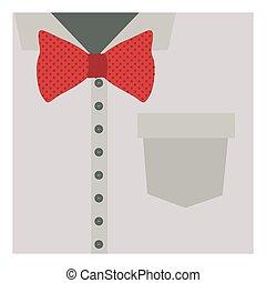 koszula, do góry, motyl, zamknięcie, czerwony, formalny